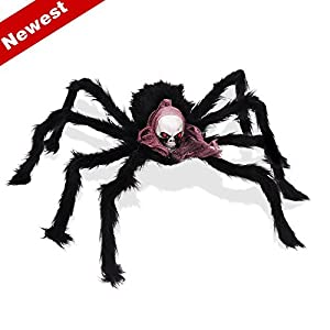SUNBA YOUTH Halloween Decoration 2 Pieces 50 Inch Black Huge Spider Used for Parties, 2 Spider