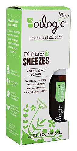 Oilogic Itchy Eyes & Sneezes Essential oil blend Allergy Symptom Relief for toddlers and kids. Seasonal Respiratory and Sinus Remedy. Roll-On 45OZ