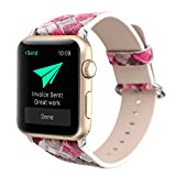 Rykimte Leather Watch Band For Apple Watch iWatch ( 38mm 42mm Many New Model Can Choose ) Replacement Strap With Metal Adapter And Adjustable Buckle