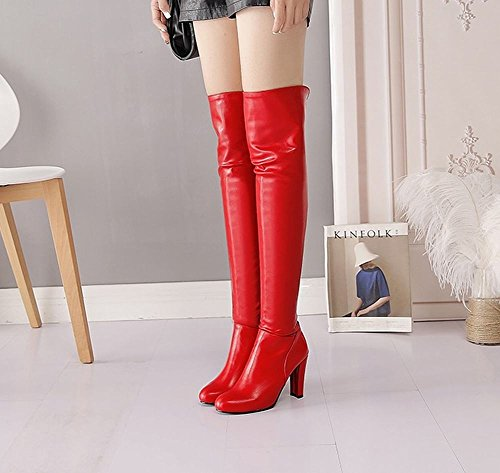Heel Shoes Chic Red Knee Zip Mee High Boots Women's XdTHdqwR