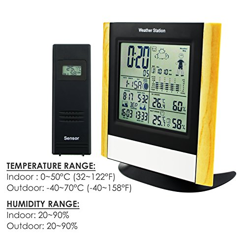 Weather Station 3 Wireless Sensors, WWVB Radio Controlled Clock Thermometer Alarm, Indoor Outdoor Humidity Temperature Weather Forecast Barometer, Sunrise Sunset Moon Phase by Gain Express (Image #4)