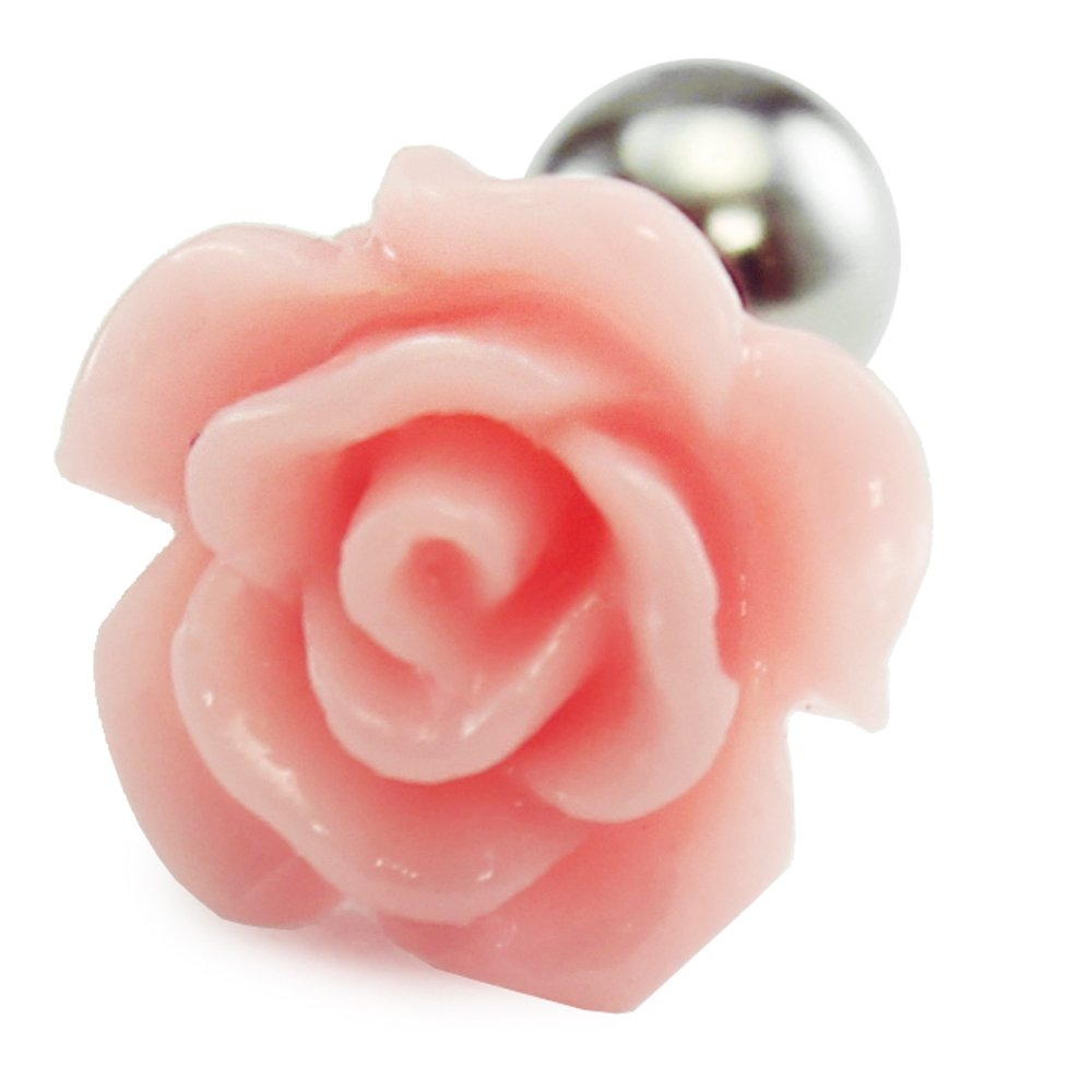 16g Resin Rose cartilage earring, flower cartilage ear stud helix conch piercing 316l surgical steel 1PC HiUnni
