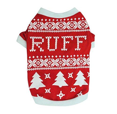 Rukiwa Christmas Warm Clothes Dog Puppy Christmas Tree Interlock Shirt Apparel (M)