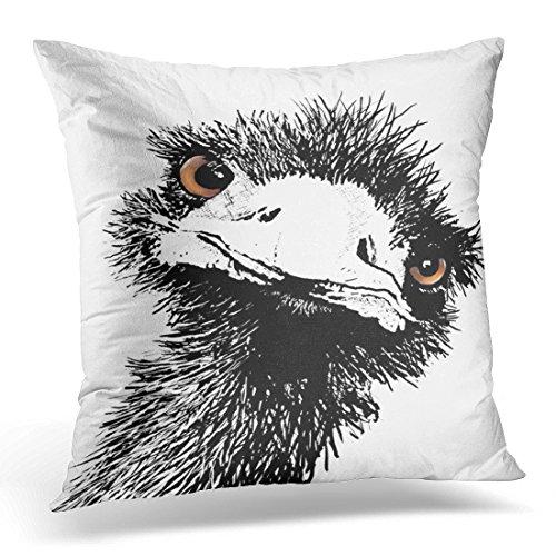 Emvency Throw Pillow Cover Bird Emu - Pen and Ink Animal Decorative Pillow Case Home Decor Square 18 x 18 Inch Pillowcase