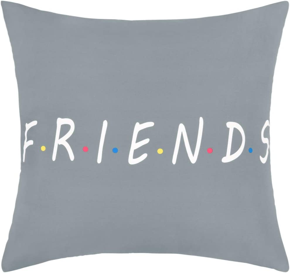 Yastouay Friends Catchphrase Throw Pillow Covers Best Friend Pillow Classic Printed Pillowcase Cushion Cover Decorative Pillowcase for Home Sofa Bed (Grey, 18