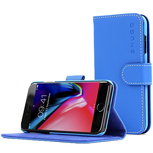 (Snugg Legacy Leather Card Slot Flip Wallet Case for Apple iPhone 7 Plus - Blue)