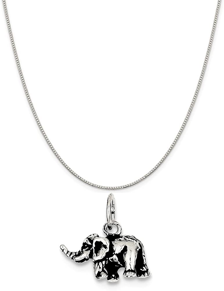 Mireval Sterling Silver Antiqued Elephant Charm on a Sterling Silver Chain Necklace 16-20