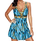 Tomlyws Women's One Piece Swimdress Cover up Swimsuit Plus Size Swimwear XXXXL