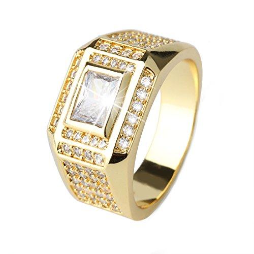 DALARAN Men Cubic Zirconia Rings Copper Band Gold Plated Siz