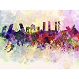 Pitaara Box PB Madrid Skyline In Watercolor, Spain Unframed Canvas Painting 24 x 18inch