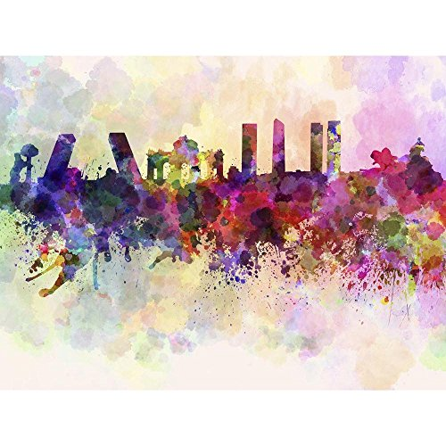 Pitaara Box PB Madrid Skyline In Watercolor, Spain Unframed Canvas Painting 24 x 18inch by Pitaara Box