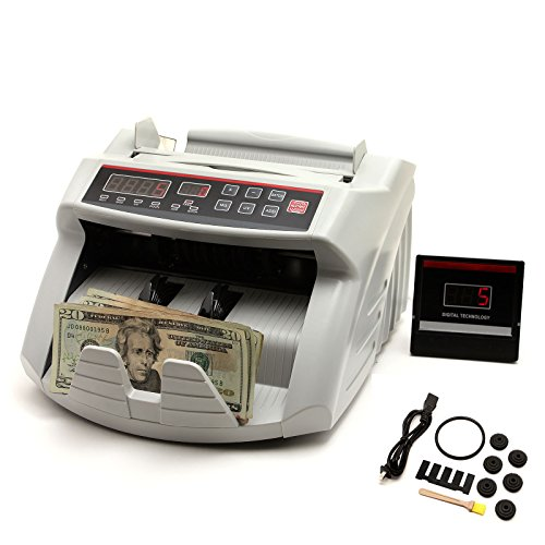 NuLink™ Professional Currency Bill Cash Banknote Money Counter Machine With UV [Ultraviolet], MG [Magnestic] Counterfeit Bill Detection, & Total Count Voice Feature