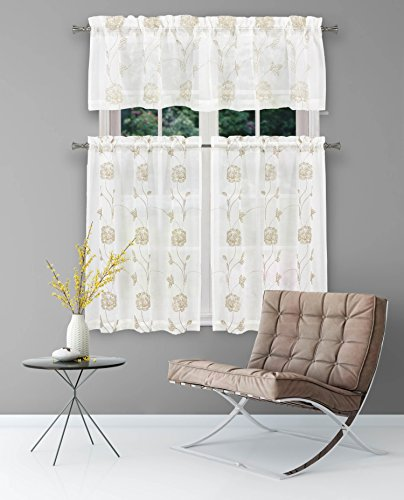 (3 Piece Window Curtain Set with Embroidered Metallic Floral Design, One Valance, Two Tiers 36 IN Long (Beige-Taupe))