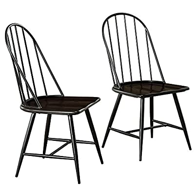 "Target Marketing Systems Windsor Set of 2 Mixed Media Spindle Back Dining Chairs with Saddle Seat, Set of 2, Black/Espresso - The Modern Dining Chairs Measure 20"" X 18"" X 38"" and Weigh 31 Lbs. They Arrive with Only Minimal Assembly Required. Perfect for a Breakfast Nook or Dining Table, these Dining Chairs are Sleek and Offer Maximum Back Support. The Armless Design also means the Chairs can Slide Underneath Tables Flawlessly. A Classic Design with a Modern Flair, the Modern Chairs Seamlessly Fit in to Any Home Décor. - kitchen-dining-room-furniture, kitchen-dining-room, kitchen-dining-room-chairs - 51bE3cRJt5L. SS400  -"
