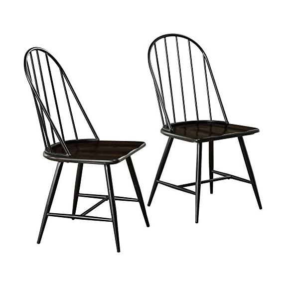 """Target Marketing Systems Windsor Set of 2 Mixed Media Spindle Back Dining Chairs with Saddle Seat, Set of 2, Black/Espresso - The Modern Dining Chairs Measure 20"""" X 18"""" X 38"""" and Weigh 31 Lbs. They Arrive with Only Minimal Assembly Required. Perfect for a Breakfast Nook or Dining Table, these Dining Chairs are Sleek and Offer Maximum Back Support. The Armless Design also means the Chairs can Slide Underneath Tables Flawlessly. A Classic Design with a Modern Flair, the Modern Chairs Seamlessly Fit in to Any Home Décor. - kitchen-dining-room-furniture, kitchen-dining-room, kitchen-dining-room-chairs - 51bE3cRJt5L. SS570  -"""