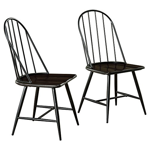 (Target Marketing Systems Windsor Set of 2 Mixed Media Spindle Back Dining Chairs with Saddle Seat, Set of 2, Black/Espresso)