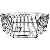 LEMKA ペットケージ 61x46x52cm 折り畳み式 树脂溶射 ワイヤーケージ キャット 中型犬用 ドッグ ハウス 休憩所 トレー付き (61x46x52 cm, ブラック)