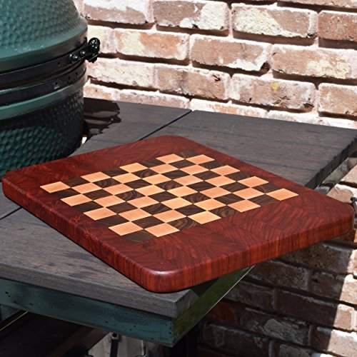 Handcrafted African Padauk, American Maple and Walnut Wood Large End Grain wood Cutting Board and Chess Board (Chess Board Edge)