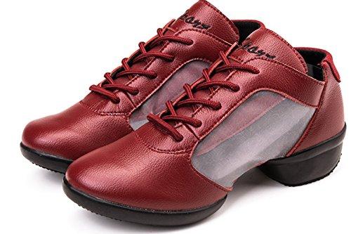 VECJUNIA Ladies Lace-Up Mesh Breathable Dance Trainer Dance Shoes Red 1M6yZ