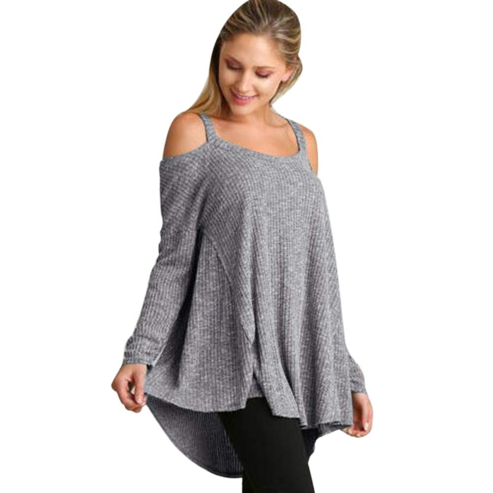 UONQD Women Solid O-Neck Long Sleeve Strapless Sling Loose Blouse T-shirt (Medium,Gray)