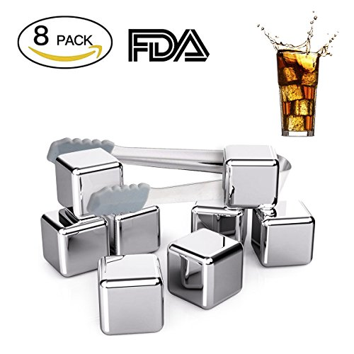 Fangie Whiskey Steel Ice Cubes,Set of 8 Stainless Steel Reusable Ice Cubes Chilling Stones with Tongs for Whiskey WineStones Chilling Rocks Keep Your Drink Cold Longer Whiskey Gifts for Men Whisky Reu by Fangie