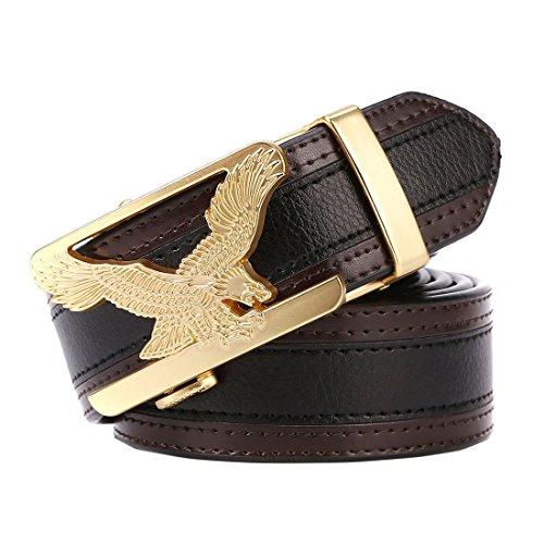KissTies Genuine Leather No Holes Ratchet Belt, Gold Color Eagle Buckle (Gold Genuine Belt)