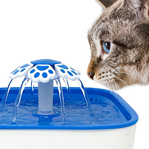 Pet Fit For Life Water Fountain Dispenser Plus Bonus Cat Wand and Mat - 2 Liter Super Quiet Automatic Water Bowl with Charcoal Filter for Dogs, Cats, Birds and Small Animals by Pet Fit For Life (Image #6)