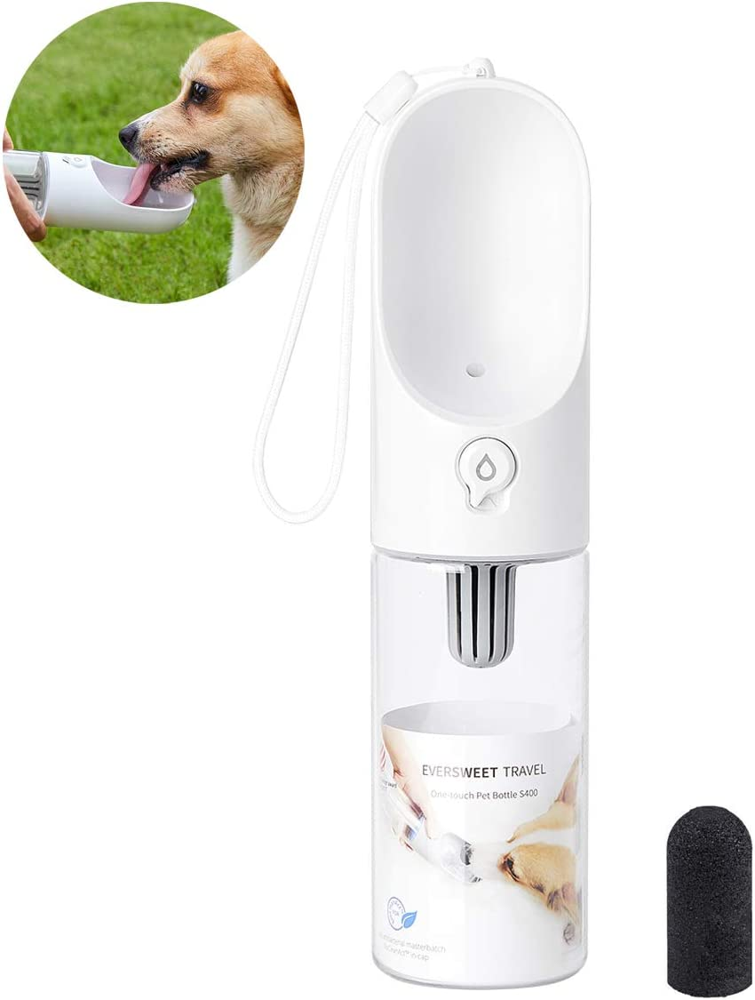 PETKIT Dog Water Bottle with Filter, Leak Proof Dog Water Dispenser with Drinking Bowl, Food Grade Material, Lightweight Portable Pet Water Bottle for Walking, Hiking, Travel, Easy to Carry, BPA Free