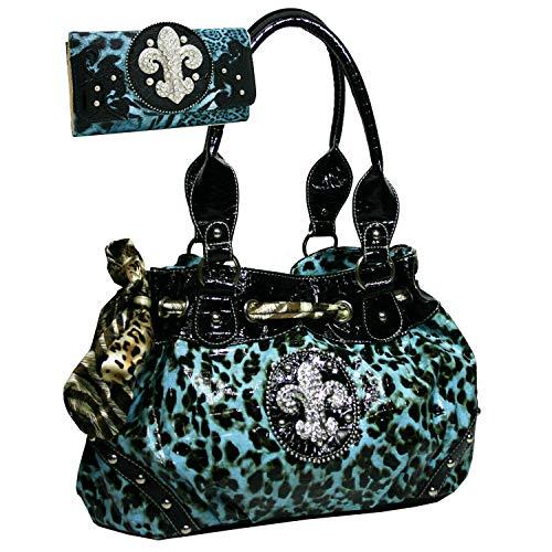 Western Rhinestone Fleur De Lis Studded Purse Bling Handbag With Bonus Wallet - Turquoise Leopard