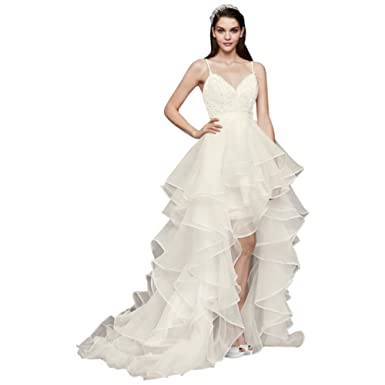 David\'s Bridal Beaded Lace Organza Two-Piece Wedding Dress Style ...