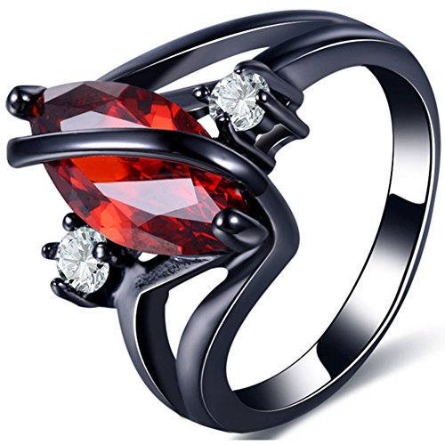 (TEMEGO Black Gold Marquise Cut Lab Created Red Ruby Garnet Ring,Size 7)