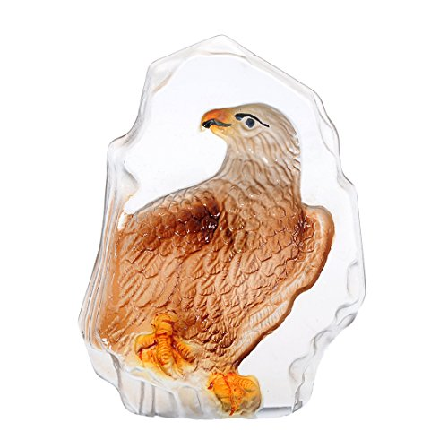 H&D Crystal Eagle Engrave Figurine Paperweight Glass Table Ornaments 3.52.6inch