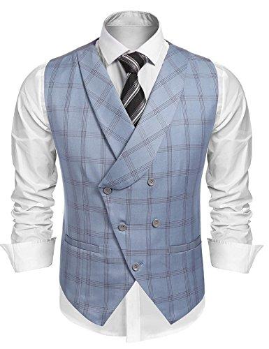 Coofandy Men's V-neck Double Breasted Slim Fit Plaid Suit Vest Dress Waistcoat