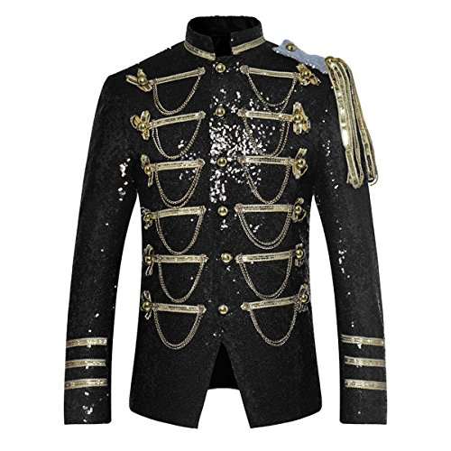 Mens Party Coats Slim Fit Sequin Blazer Single Breasted Prom Vintage Suit Jacket Black