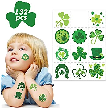 4bca07026 Shamrock Party Favors for Kids - 132pcs St Patrick's Day Irish Tattoo  Sticker Ireland Green Party Gift Favors