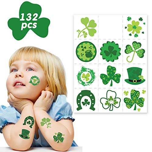 Shamrock Party Favors for Kids - 132pcs St Patrick's Day Irish Tattoo Sticker Ireland Green Party Gift Favors ()