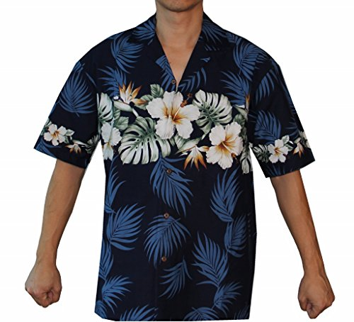 Alohawears Clothing Company Mens Hibiscus Bird of Paradise Hawaiian Aloha Luau Cruise Shirt