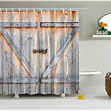 "Decor Old Wooden Garage Door American Country Style Decorations for Bathroom Photography Print Vintage Rustic Decor Home Polyester Fabric Shower Curtain 65""(w) x 72""(h) Inches"