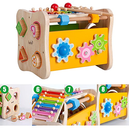 Life&Fun Kids Initiation Musical Toy Wooden 3 in 1 Multifunctional Music Toys Pound & Tap Xylophone Color&Tones Colorful Keys with Mallets by Life&Fun (Image #4)
