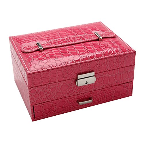 KUKI SHOP Synthetic Leather 2-Layer Large Capacity Portable Jewelry Storage Organizer Box with Mirror Lock and Drawer for Necklace Earrings Bracelets Hairpieces Rings Brooches (Rose)