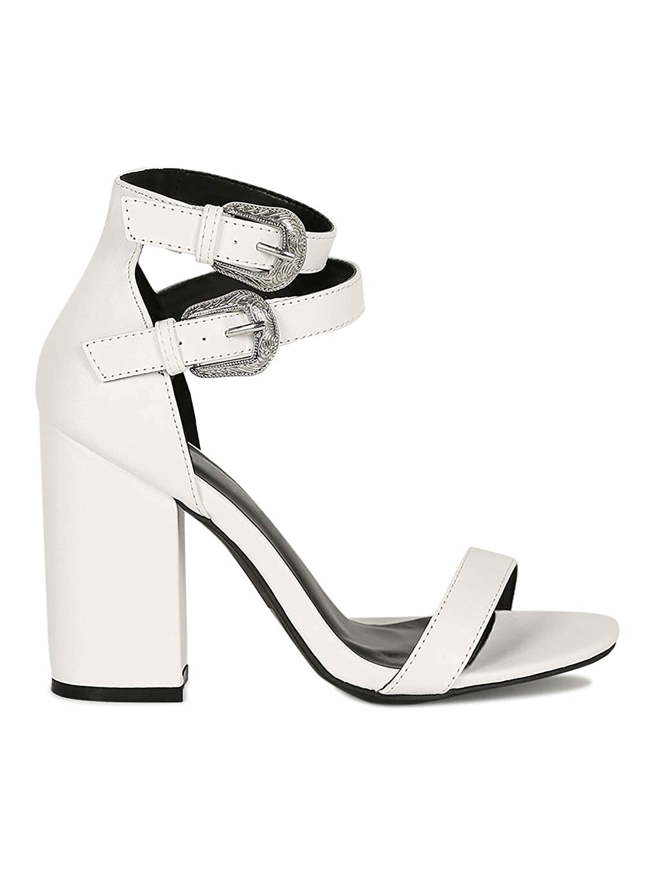 Alrisco Women Open Toe Dual Etched Buckled Chunky Heel Sandal RJ93