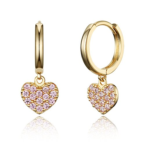 14k Gold Plated Brass Pink Heart Plain Huggy Baby Girls Hoop (14k Gold Heart Hoop Earrings)