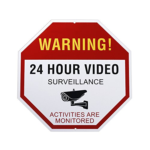 ULar XX1 Reflective Video Surveillance Sign Outdoor, Aluminum Waterproof, Rust Free, All Activities are Monitored, No Trespassing 24 Hour Video Warning Sign, 12