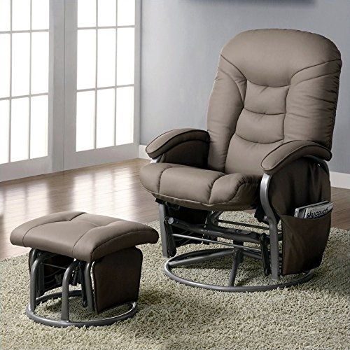 Coaster Deluxe Swivel Glider and Ottoman in Beige (Leather Glider Rocker)