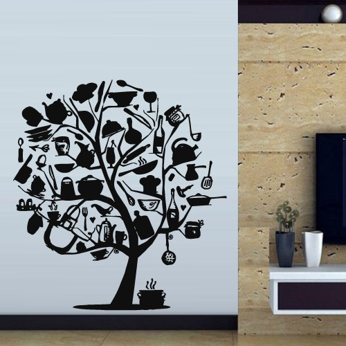 Wall Decal Cup Coffee Cafe Restaurant Kitchen Tree Kettle Pan Crockery M324 ()