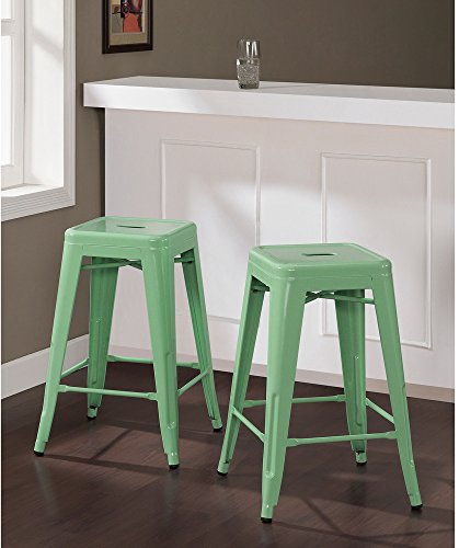 ModHaus Living Set of 2 Mint Green French Bistro Tolix Style Metal Counter Stools in Glossy Powder Coated Finish Includes (TM) Pen