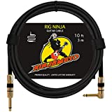 Rig Ninja Guitar Cable by NINJAMUSO, 10 ft Right Angle Instrument Cables, Low Noise Clean Tone Cords