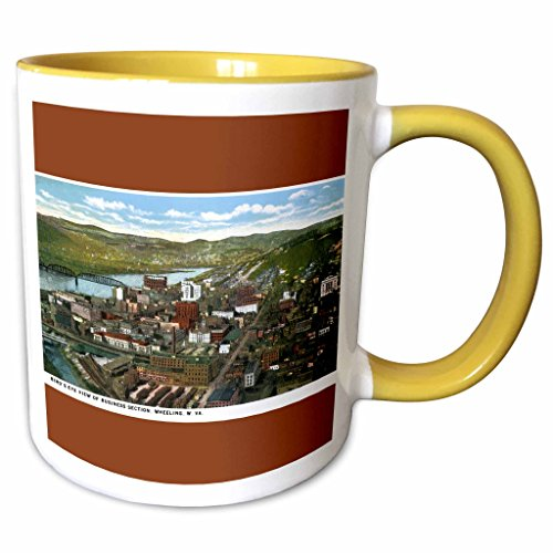 3dRose BLN Vintage US Cities and States Postcards - Birds Eye View of Business Section, Wheeling, West Virginia - 15oz Two-Tone Yellow Mug (mug_170771_13)