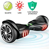 TOMOLOO Hoverboard with Speaker Smart Scooter Two-Wheel Self Balancing Electric Scooter and Lights - Black Hover Board with UL2272 Certified for for Adults and Children. (Q2-BLACK)
