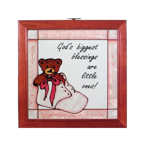 Baby Teddy Bear Pink/Girl Stained Glass - Stained Bear Teddy Glass